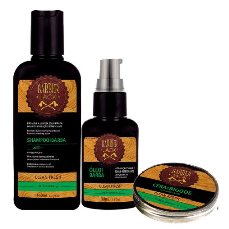 Kit Clean Fresh Shampoo 140ml Óleo 30ml e Cera p/ Bigode 20g Barber jack