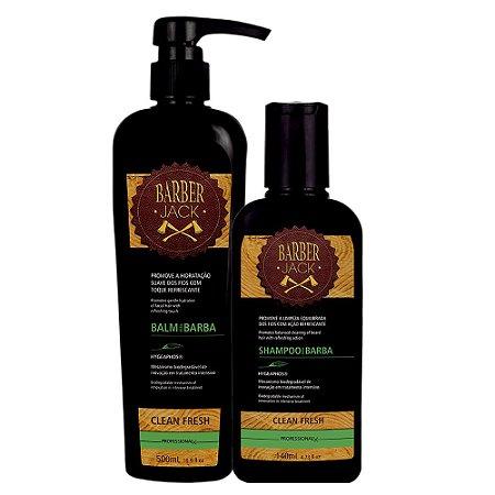 Kit Clean Fresh Barber Jack Shampoo e Balm para Barba Barber Jack
