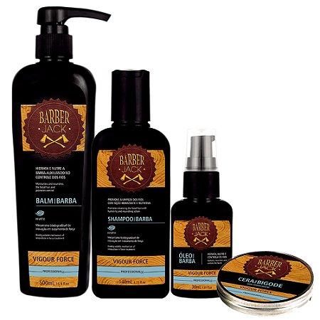 Balm Shampoo Oleo e Cera para Bigode Kit Vigour Force Barber Jack