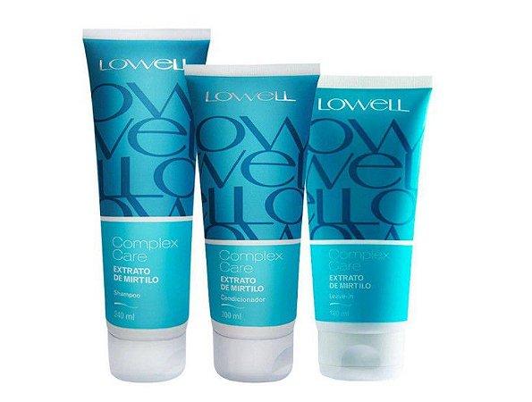 Combo Shampoo, Condicionador e Leave-in Complex Care extrato de Mirtilo pequenos Lowell