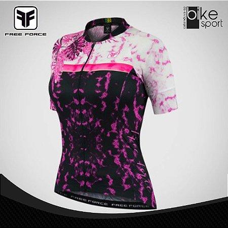 Camisa Feminina Sport Scribe Preto e Rosa