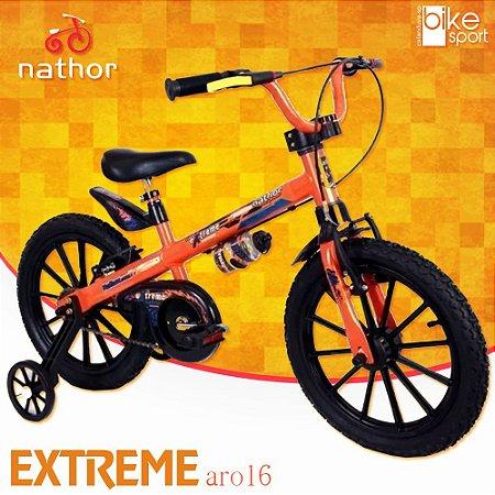 Bicicleta Aro 16 Extreme Laranja e Preto