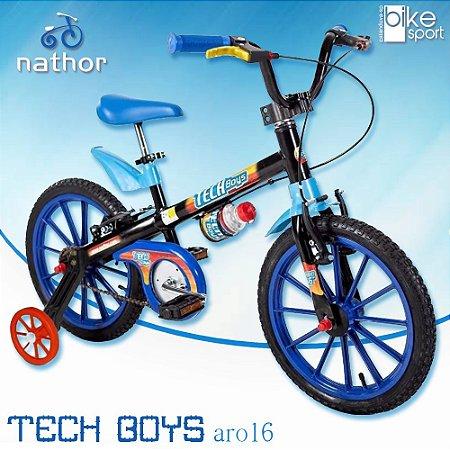 Bicicleta Aro 16 Tech Boys 5 Preto e Azul