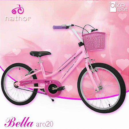 Bicicleta Aro 20 Bella Rosa e Branco com Cesta