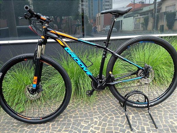 Bicicleta Groove Hype 70 Aro 29 Preta Azul e Laranja