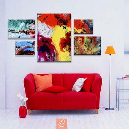 Conjunto de 5 Telas Assimétricos All Colors Abstrato