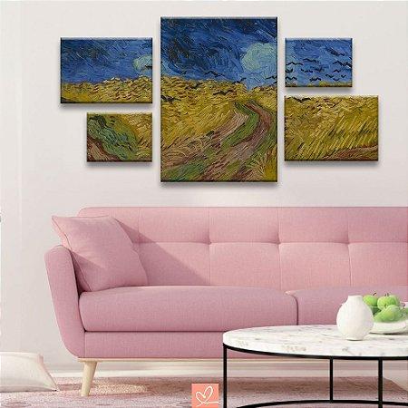 Conjunto de 5 Telas Assimétricos Replica Obra Wheatfield With Crows - Vincent Van Gogh