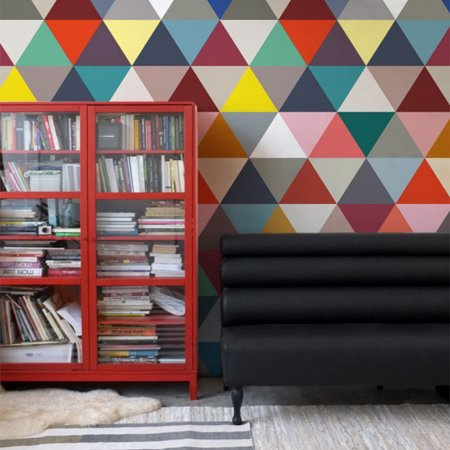 Papel de Parede Adesivo Triângulos Geométricos Coloridos