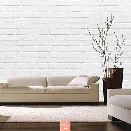Papel de Parede Adesivo Tipo Tijolo Branco