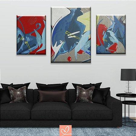 Trios de Telas Compacto Pintura Africana