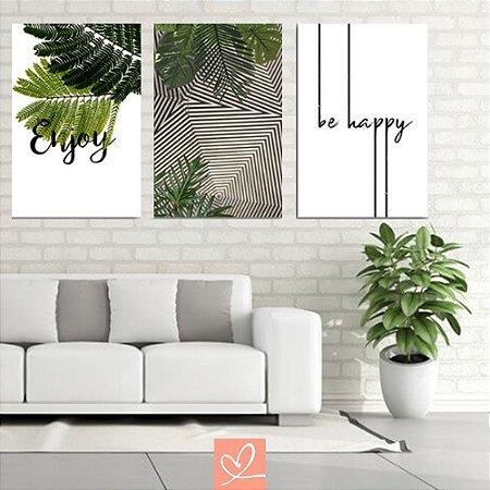 Trio de Placas Decorativas Enjoy Be Happy