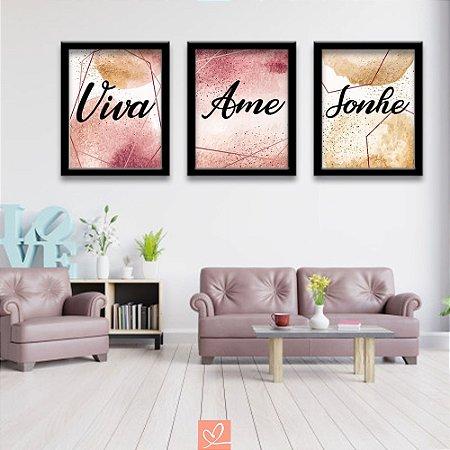 Kit Trio de Placas Emolduradas - Viva, Ame, Sonhe Mármore Rose
