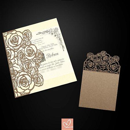 Convite de Casamento Golden Floral - Recorte a Laser