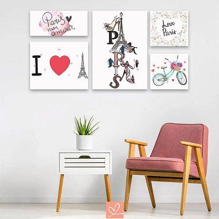 Kit Placas Decorativas Love Paris