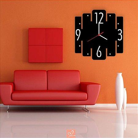 Relógio Decorativo de Parede Estilo Tiras em Acrílico Preto