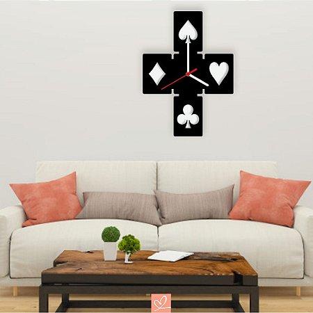 Relógio Decorativo de Parede Tema Jogos de Baralho em Acrílico Preto