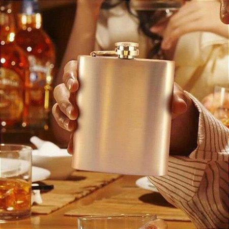 Cantil de Bolso Porta Bebida Whisky aço inox 210ml
