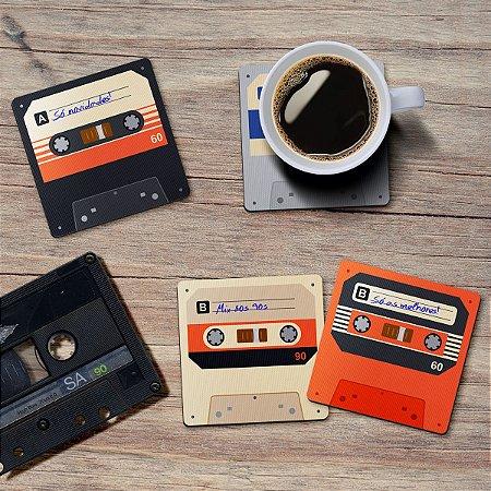 Jogo de Porta Copos Fita Cassete K7 Retrô Vintage - 4 peças