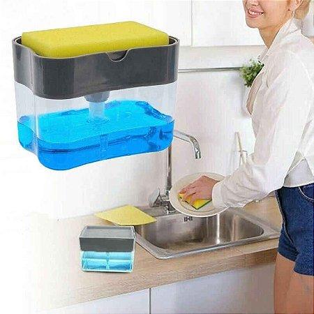 Porta Detergente Dispenser Sabão 2 x 1 para Pia Cozinha