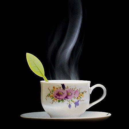 Infusor de Chá Folha Plantinha silicone e aço inox