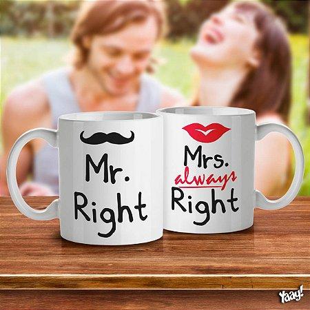 Jogo de Canecas Casados Mr. and Mrs. Right