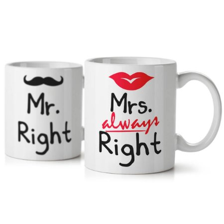 Jogo de Canecas Casados Mr. and Mrs. Right