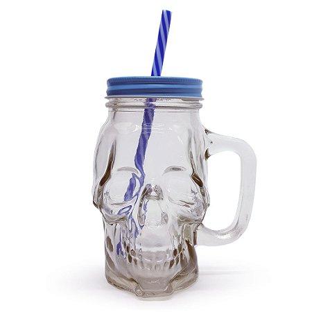 Caneca de Vidro Caveira Skull com tampa - Cores Sortidas