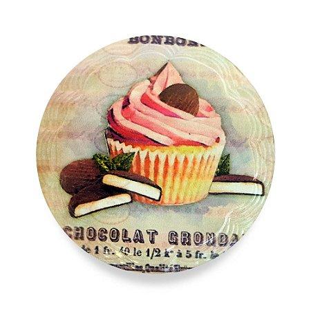 Imãs de Geladeira em Porcelana Tema Cupcakes - 12 Unidades