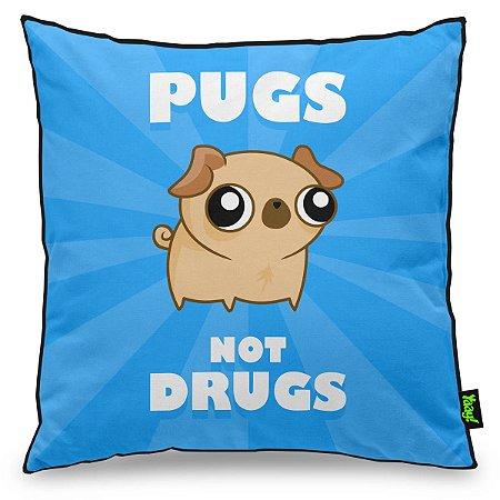Almofada Pugs not Drugs - azul