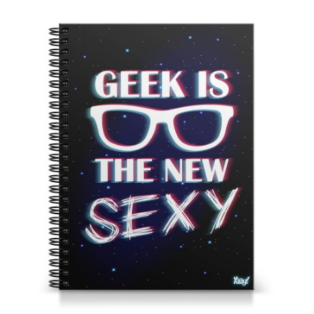 Caderno Universitário Capa Dura 1x1 - Geek is the new Sexy