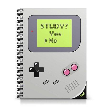 Caderno Universitário Capa Dura 1x1 - Gamer Boy Study Yes or No