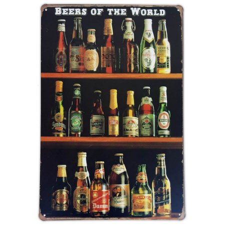 Placa de metal decorativa Retrô Beers of The World 2