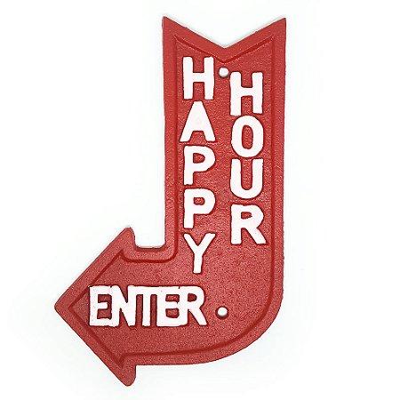 Placa Rústica de ferro Happy Hour - vermelho