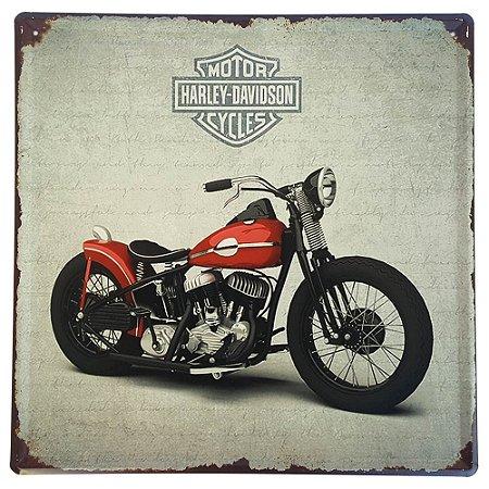 Placa de Metal Decorativa Harley Davidson Red - 30 x 30 cm