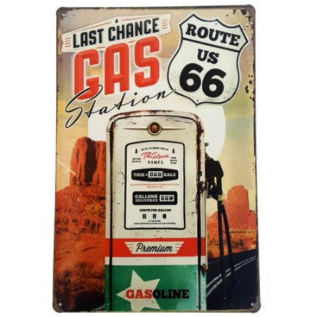 Placa de Metal Decorativa Last Chance Gas Station - 30 x 20 cm