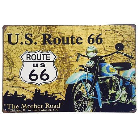 Placa de Metal Decorativa US Route 66 - 30 x 20 cm