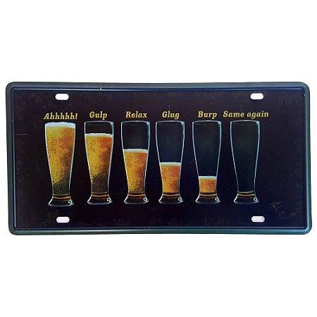 Placa de Metal Decorativa Cerveja - 30,5 x 15,5 cm