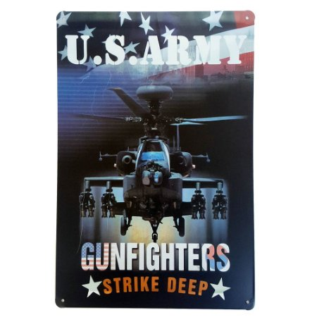 Placa de Metal Decorativa US Army Strike Deep - 30 x 20 cm