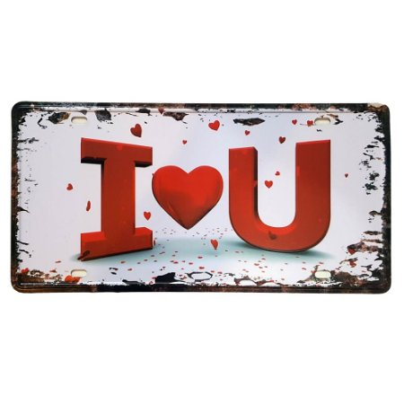 Placa de Metal Decorativa I Love You - 30,5 x 15,5 cm