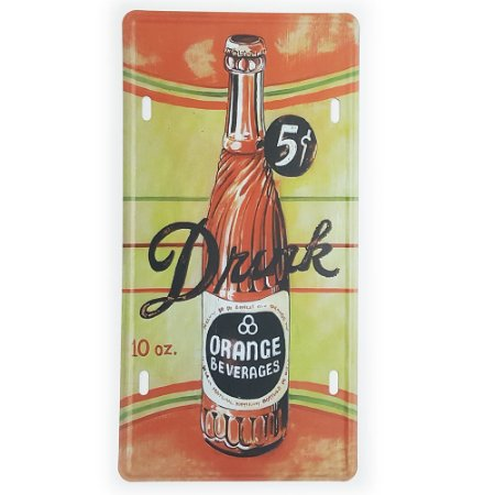 Placa de Metal Decorativa Drink Orange Beverages
