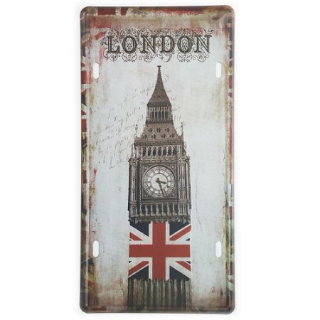 Placa de Metal Decorativa London Big Ben Tower