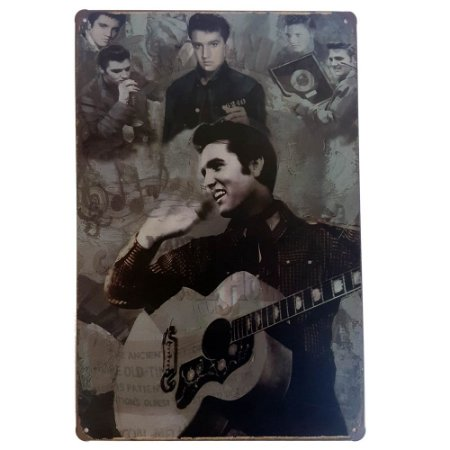 Placa de Metal Decorativa Elvis Presley Moments - 30 x 20 cm