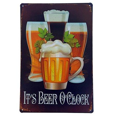 Placa de Metal Decorativa Hora de Cerveja - 30 x 20 cm