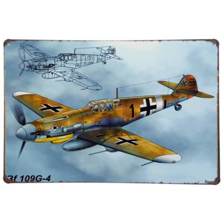 Placa de Metal Decorativa Avião BF 109G-4 - 30 x 20 cm