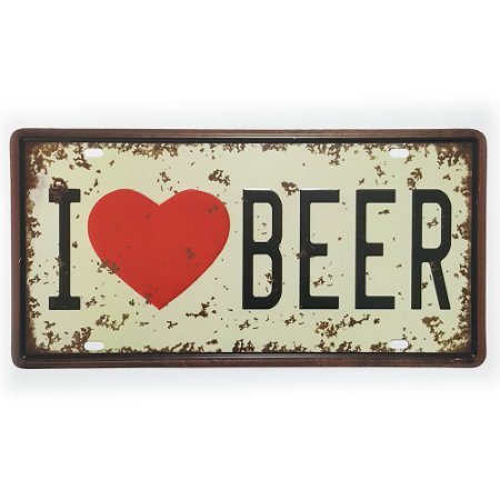 Placa de Metal Decorativa I Love Beer