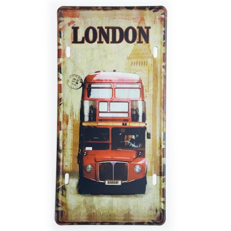 Placa de Metal Decorativa London Bus