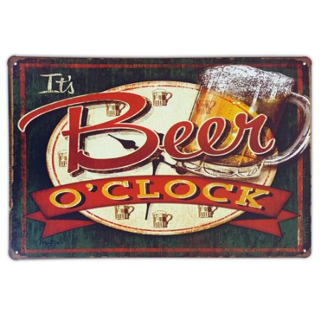 Placa de metal decorativa Retrô It's Beer o'clock