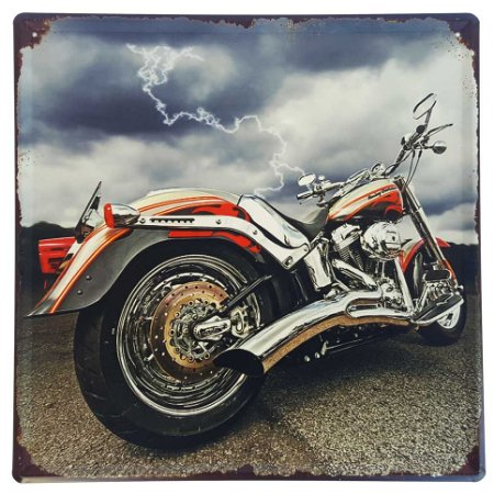 Placa de Metal Decorativa Harley Davidson Raio - 30 x 30 cm