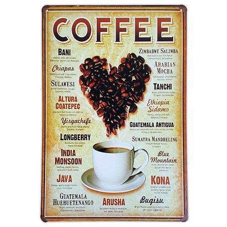 Placa de metal decorativa Retrô Coffee Types