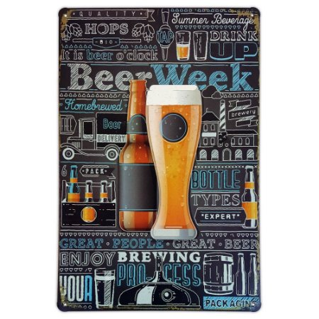 Placa de metal decorativa Retrô Beer Week
